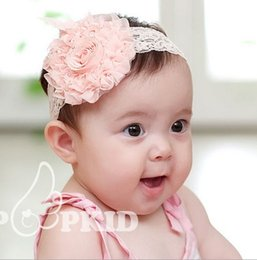 Wholesale Shabby Head Flower - INS Lace Flower Baby Headbands 3Colors Shabby Girls Hair Accessories Baby Head Bands 50PCS LOT