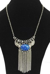 Wholesale Necklace Fringes - burnished silver fringe boho necklace with dark blue oval semi stones,cut-out precious pendant
