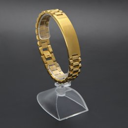 Wholesale President Plate - 21cm*1.5cm 24K Gold Plated Hiphop Watchband President Strap Crown Adjustable Bracelet Stainless Steel Large Solid Heavy Bracelet Bangle