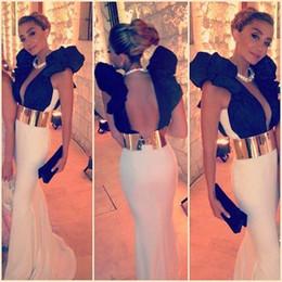 Deep V Neck Sexy Robes De Bal 2016 Blanc Et Noir Mid East Longue Robes De Soirée Sirène Fête Pageant Robes Avec Ceinture En Or ? partir de fabricateur