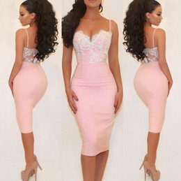 Wholesale Cute Winter Dresses Cheap - So Cute Sexy Pink Lace Cocktail Party Formal Dresses Short 2016 Summer Holiday Beach Spaghetti Backless Cheap Occasion Prom Gown