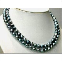 """Wholesale Real Gold White Pearl Necklace - 2016 new hot sell TAHITIAN REAL BLACK GREEN PEARL NECKLACE 14K 35"""" 9-10MM"""