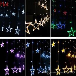 Wholesale 1m Purple Fairy Lights - Pop 1M 12 LED Curtain Lights Home Outdoor Christmas Decorative Wedding Xmas String Fairy Curtain Stars Strip Party Lights EU Plug SV123122
