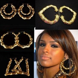 Wholesale big gold bamboo earrings - Wholesale- Wholesale Jewelry Big Large Bamboo Hoop Earrings Hip hop Earrings 12pairs lot
