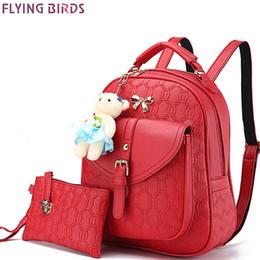 Wholesale School Bag Birds - Wholesale- FLYING BIRDS new women backpack fashion women leather Backpacks ladies girl school bags shoulder bags female travel bag LM4003fb