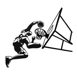 Wholesale Wall Paper Designs For Bedrooms - Modern Design Dunk Basketball Player Wall Decor Vinyl Decal Sticker Removable Art Sticker Home Bedroom Decor The Best Quality