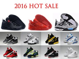 Wholesale China Shoes Shipping - 2016 top Quality Air retro 4 mens basketball shoes Arrived china Authentic Cement Fire Red Fear Free shipping online for sale size 8-13
