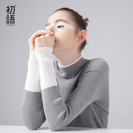 Wholesale Turtleneck Splicing - Wholesale-Toyouth Brand Sweater Women Knitted Sweater Short Contrast Color Splice Sweater For Women Simple Slim Turtleneck Pullover