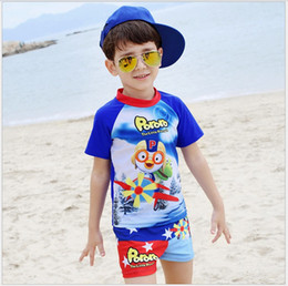 Wholesale Wholesale Baby Boy Swimwear - 2016 Boys Cartoon Pororo Swimwear Children Short Sleeve T-shirt+Shorts 2pcs Set Kids Swimsuit Baby Boy Swim Swimsuit 5sets lot