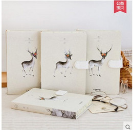 Wholesale Magnetic Notepads Wholesale - Wholesale- School Stationery Supply Notebook Printing Deer Hardfaced Art Notepad Magnetic Buckle Diary Composition Book Gift CC
