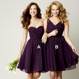 Wholesale Short Strapless Sweetheart Dresses - Chiffon Ball Gown Sweetheart Pleated Short Bridesmaid Dress Grape Purple 2016 Party Dress For Wedding Lace Up