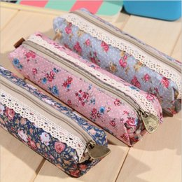 Wholesale Cheap Bags For Girls - Wholesale-1Pcs Canvas pencil case Simple cheap pencil bag kawaii lace floral pen holder for girls School supplies stationery
