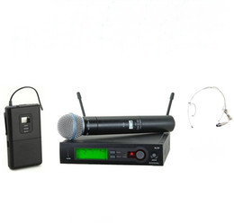 Wholesale Uhf Phone - UHF Wireless Microphone System + Handheld + Bodypack + headset Mic SLX24 beta58 for Stage
