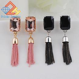 Wholesale Metal Gold Tassels Chain - Tassel Earrings Personality Metal Chain Long Earrings Rhinestone Gold Plated Jewelry Wholesale Gifts All Match