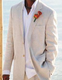 Wholesale Grooms Linen Wedding Suits - Wholesale-Summer Champagne Casual Linen Men Suits Notched Lapel Mens Wedding Suits Tuxedos Suits Two Button Groom Suits (jacket+pants)