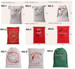 Wholesale Large Santa Sacks Wholesale - Christmas Large Canvas 50*70cm Santa Claus Drawstring Bag With Reindeers Monogramable Christmas Gifts Sack Bags free shipping CC04