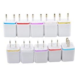 Wholesale Ipad Mini Power Dock - 500pcs Universal 2.1A Wall Charger Plug US EU Dual USB AC Power Adapter 2 Ports For IPAD Mini Air Ipod Iphone 4 5 6 7 Plus For Samsung HTC