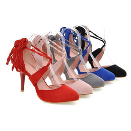 Wholesale Pink Ribbon Sandals - Fashion Women's Sexy Pointed Toes Shoes Faux Suede Lace Up High Heel Sandals S115 US Size 4 -10.5