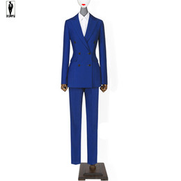 Wholesale Hot Ladies Breasts - UR 81 Blue Custom Made Bussiness Formal Elegant Women Suit Set Blazers And Pants Office Suits Ladies Pants Suits Trouser Suits Handmade Hot