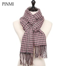 Wholesale Men Houndstooth Scarf - Wholesale- PINMI Classic Houndstooth Winter Scarf Women Plaid Warm Cashmere Scarf Female 2017 New Fashion Soft Blanket Scarves and Shawls