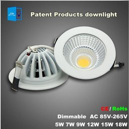 Wholesale 15w Led Chip - Super bright Patent product Dimmable LED Recessed Downlight 5W 7W 9W 12W 15W 18W COB Chip LED Ceiling SpotLight White  Warm white