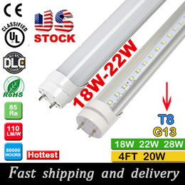 Wholesale T8 18 Led Tube - 30pcs 1200mm t8 led tube lighting 18 20 22Watt with high bright 110pcs SMD2835 free shipping by fedex