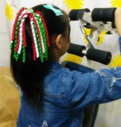 Wholesale Girls Ribbon Ponytail Hair Bow - christmas gift !Girl O A-korker Ponytail various color korker ribbons streamers hair bows with elastic corker Curly ribbon hair clip 20pcs