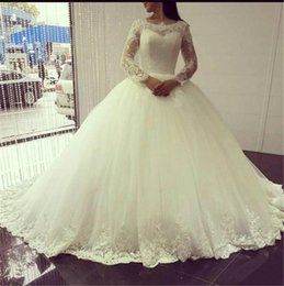 Wholesale Hot Arabic Wedding Dresses - 2017 Hot Sell Long Sleeves Wedding Dresses Lace Ball Gowns Appliques Floor Length Arabic Bridal Gowns Custom Made Vestidos de novia