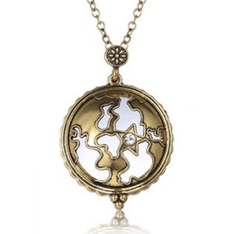 Wholesale Maps Hot Sale - Hot Sale Gold Plated Antique Design Map Shape Magnifying Glass Pendant Long Chain Necklace Fashion Women Jewelry Gifts
