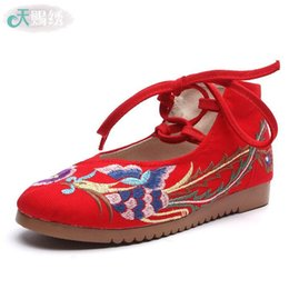 Wholesale Red Heaven - 2016 new heaven embroidered women shoe Dichotomanthes end red bride wedding shoes embroidered shoes slip China traditional shoes