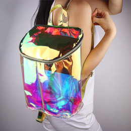 Wholesale Zipper Book - Backpacks New Women Shinny Hologram Backpack Clear Transparent PVC Holographic Book Bag School Backpacks