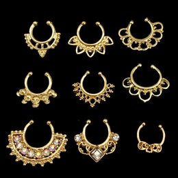 Wholesale Clip Nose Rings - 9 PCS Top sale fake nose ring jewelry fake septum Piercing clicker faux clip non Body studs Hoop For Women Silver wholesale