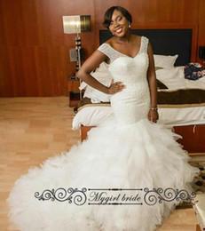 Wholesale Lace Long Wedding Tailed Dresses - Corset Wedding Dresses Bridal Gowns Rufffled Long Tail Luxury Beaded Wedding Dress Sexy vestidos de novia