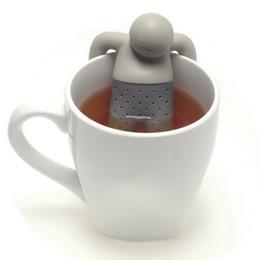Wholesale Wholesale Teapots Accessories - Mr. Tea Infuser Teapot Cute Silicone Tea Strainer Silicone Mr. Tea Kitchen Accessories Coffee Tea Sets