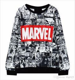 Sudaderas con capucha de maravilla online-2016 mujeres calientes de la venta Hoodies Marvel Moletom Hoodie sudadera con capucha Harajuku negro suéter femenino envío gratis