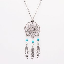 Wholesale Tennis Accessories China Wholesale - New Fashion accessories jewelry Dream catcher leather pendant necklace gift for women girl wholesale