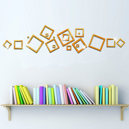 Wholesale Frames Backgrounds - Box Frame Mirror stickers television background decorative stickers removable acrylic mirror perspective new 2016 European and Am