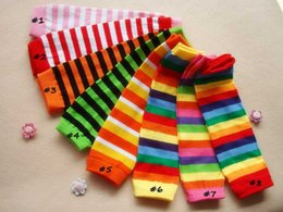 Wholesale Arm Warmers Cotton - Fashion Striped Baby Leg Warmer Colorful rainbow Children kids Leg Warmers Tights pink red green orange Adult Arm warmers 24Pcs=12Pairs