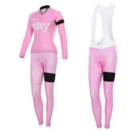Wholesale Sky Cycling Jersey Long - 2015 Newest SKY pink cycling jerseys tour de france Bike Wear cycling jersey autumn long sleeves+bib none bib shorts size XS-4XL
