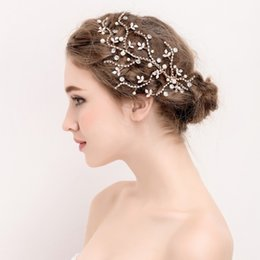 Wholesale Hair Clip Handmade - beijia New Rhinestone Bridal Gold Leaf Hair Vine Pearls Wedding Hair Jewelry Clip Women Accessories Handmade Headwear