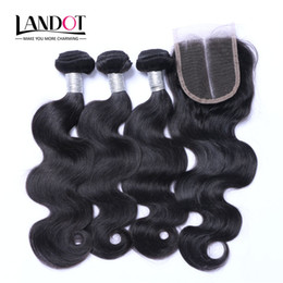 Wholesale brazilian hair top closures - Top Lace Closures With 3 Bundles Brazilian Virgin Hair Weaves Malaysian Indian Peruvian Cambodian Brazillian Body Wave Remy Human Hair wefts