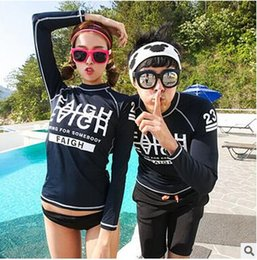 Wholesale Swimwear Girl Sunscreen - swimsuit with long sleeves Korean girl student long-sleeved wetsuit sunscreen Rash Guard beach tight-fitting swimwear split bikinis DHL 2016