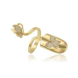 Wholesale Nail Butterfly Gold - Xuping Brand Butterfly Pattern 14k Gold Plated Nail Ring For Women Shine Zirconia Environmental Copper Jewelry Ring Personalize DH-6-1322713