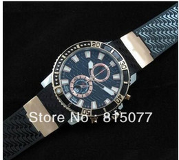 Wholesale Maxi Diver - Ulysse Maxi Marine Mens Diver Wrist Watch 18K Gold Sapphire glass Rubber Men's Automatic Watches Spo