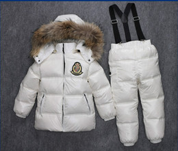 Wholesale Girls Down Jacket Fur - winter girls clothing set down coat and down pants set natural fur hooded down jackets white red blue green 4 colors