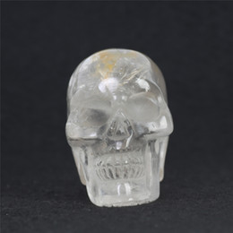 Wholesale Buddhism Dance - Wholesale HJT 75mm Natural clear crystal skulls Carved Realistic clear Crystal Skull Reiki Crystal Healing Statue decoration Stone Skull