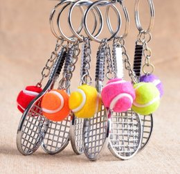 Wholesale Wholesale Tennis Ball Key Chains - Silver tennis racket with ball key chain Multicolor tennis ball key ring Creative tennis fans portable accessories
