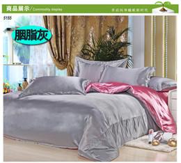 Wholesale queen comforter brown - grey silk bedding sets pink satin linen tencel silk gray beding duvet cover bedsheet 3pcs twin 4pcs king queen bed set 5155