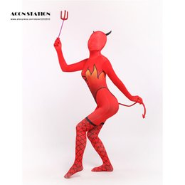 Wholesale Red Lycra Jumpsuit - Wholesale-Ainclu 2016 Sexy Red Unisex Cat Demon Lycra Spandex Cool Zentai Suits Fork Wand Long Tail Jumpsuit Romper