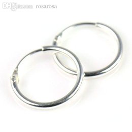 Wholesale Small Earrings For Cartilage - Wholesale-Sterling Silver Small Endless Hoop Earrings for cartilage, Nose and lips, 3 8 inch Diameter=9.5mm ,PT-698